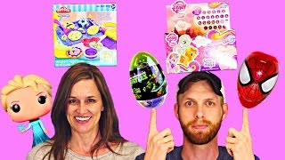 getlinkyoutube.com-TOY HUNTING DCTC - Surprise Eggs Easter Baskets Play Doh Disney Frozen Hello Kitty Barbie Backpack
