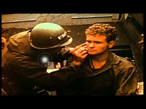 Amphibious training in Pacific during World War II. Medics treat several Marines ...HD Stock Footage