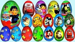 getlinkyoutube.com-80 Surprise eggs, Маша и Медведь Kinder Surprise Mickey Mouse Disney Pixar Cars 2