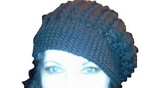 getlinkyoutube.com-2-Шапка -берет, вязанный спицами \Knitting hat