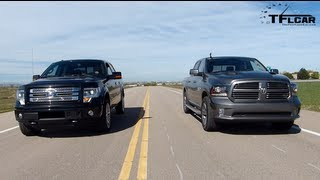 getlinkyoutube.com-2013 RAM 1500 vs Ford F-150 Drag Race & Burnout Mega Pickup Mashup