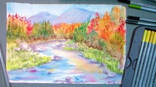 getlinkyoutube.com-How to paint fall foliage in watercolor pencils