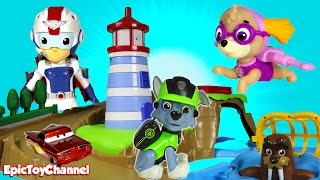 getlinkyoutube.com-SURPRISE TOYS MAGIC at Paw Patrol Skye & Zumas Light House Rescue + Surprise Eggs & Disney CARS Toys