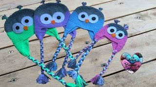 getlinkyoutube.com-Tuto crochet: Bonnet Hibou (toutes tailles) / Owl beanies knitting (all sizes)