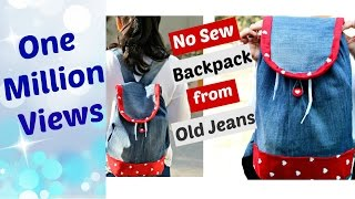 DIY: No-Sew Backpack from Old Jeans || Recycle old Denims
