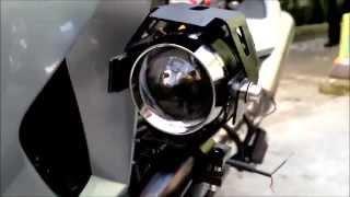 getlinkyoutube.com-Instalação de farol auxiliar de Led moto, farol auxiliar estilo touratech BMW GS, KTM , Yamaha