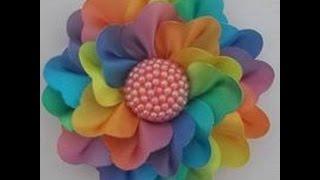 getlinkyoutube.com-Flor de cetim com várias opções de pétala - Modelo Rosa Valentina
