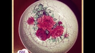 getlinkyoutube.com-reverse crackle decoupage on plate roses decorations DIY ideas craft tutorial / URADI SAM Dekupaž