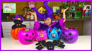 getlinkyoutube.com-EVIL MALEFICENT BIG HALLOWEEN CANDY BUCKET SURPRISE EGG TOYS Opening Disney Frozen Elsa Finding Dory