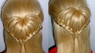 getlinkyoutube.com-Einfache Flechtfrisuren: HERZ-Frisur für Kinderhaare. Heart Braid Hairstyle.Peinados