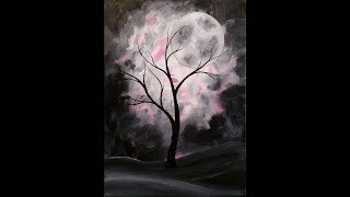 getlinkyoutube.com-Mystical Moon Step by Step Acrylic Painting on Canvas for Beginners