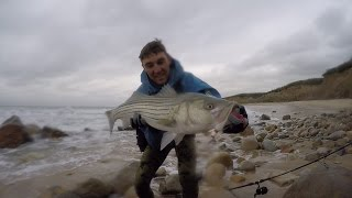 getlinkyoutube.com-Working the White Water. Storm Striped Bass Surf Fishing w/ bucktails