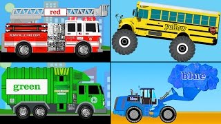 getlinkyoutube.com-Learning Colors Collection Vol. 1 - Learn Colours Monster Trucks, Fire Engines, Garbage Trucks