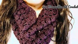 getlinkyoutube.com-Bufanda en crochet circular de cuello alto