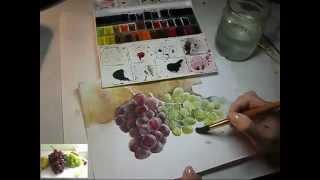 getlinkyoutube.com-Виноград акварелью, Aquarell, watercolor.mp4