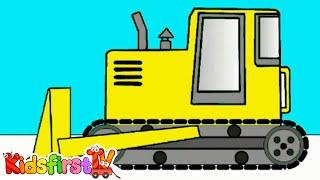 getlinkyoutube.com-Мультик Раскраска на Английском: Kids Learn Colours: Trucks & Excavators [굴착기 트럭]