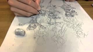 "getlinkyoutube.com-ラブライブ μ's全員描いてみたTime Lapse Drawing anime ''Love live"""