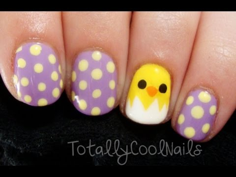 Simple Easter Chick Nails