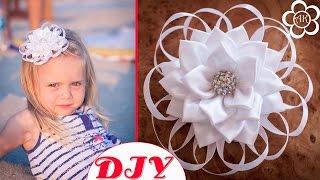 getlinkyoutube.com-Белый цветок Канзаши к 1 сентября / Банты в Школу / Back to School