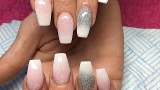 Acrylic Nails | Pink And White Ombre | CJP