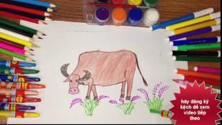 getlinkyoutube.com-vẽ con trâu - dạy tô màu cho bé, Draw Buffalo