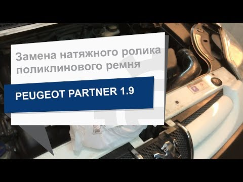 Замена натяжного ролика поликлинового ремня INA 532 0296 10 на Peugeot Partner