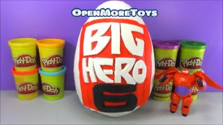 getlinkyoutube.com-Big Hero 6 Giant Surprise Egg PLAY DOH Baymax with Minecraft Toys and More!
