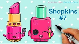 getlinkyoutube.com-How to Draw Shopkins Lippy Lips and Polly Polish step by step Cute