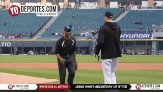 Secretary of State Jesse White ceremonial pitch at Chicago White Sox vs  Houston Astros