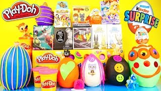 getlinkyoutube.com-Playdough Eggs Kinder Surprise Toys Disney Vinylmation Chaos Bunnies Marvel MLP Toy Play Doh