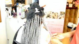 getlinkyoutube.com-BLENDING BLACK HAIR INTO GREY BRAID EXTENSIONS