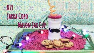 getlinkyoutube.com-DIY: Copo Jarra, Mason Jar cup Super fácil!