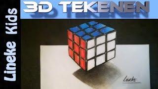 getlinkyoutube.com-Hoe teken je een Rubik Kubus / 3D tekenen / #20