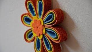 getlinkyoutube.com-Móvil de flores de Goma eva - Manualidades para todos