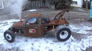 RC Rat Rod Wrecker (Diesel Rod) 1. Testrun with Sound and real Smoke