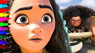 getlinkyoutube.com-Disney Princess Moana BEST LEARNING Coloring Book Pages Kids Fun Art Learning Coloring Videos