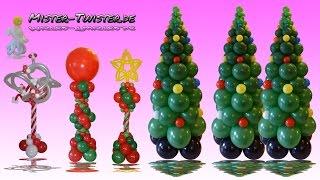 getlinkyoutube.com-Balloon Christmas Tree Column  Decoration, Ballon Weihnachtsbaum Anleitung Dekoration