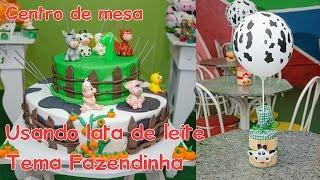 getlinkyoutube.com-Decoração de festas: Centro de mesa para aniversários usando lata de leite