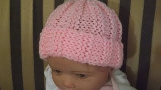 getlinkyoutube.com-Gorrito para bebe' tejido con dos aguja, Punto Acanelado. Con Ruby Stedman