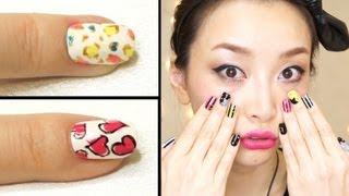 getlinkyoutube.com-超カワイイ♡簡単セルフネイルの方法/Colorful Leopard Nails & Hearts Nails Tutorial [English Subs]