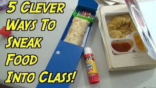 5 School Hacks You Can Do When You're Hungry - How To Sneak Food Into Class (HOW TO HACK)