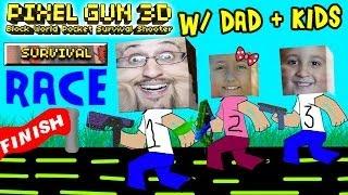 getlinkyoutube.com-Dad & Kids play Pixel Gun 3D: SURVIVAL RACE (pt. 3) (iOS Multiplayer Face Cam)