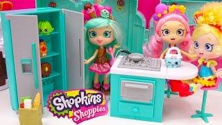 getlinkyoutube.com-Shoppies Peppa Mint Fridge, Oven, Kitchen with Shopkins Season 4 Blind Bag Unboxing - Cookieswirlc
