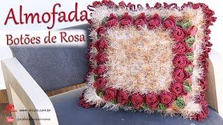 getlinkyoutube.com-Almofada ♥ Botões de Rosa ♥ em Crochê   Professora Simone