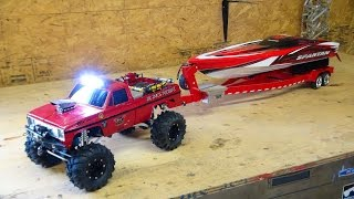 getlinkyoutube.com-RC ADVENTURES - Beast 4x4 with a Cormier Boat Trailer - Traxxas Spartan Speed Boat in Tow!
