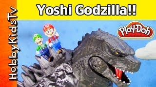 GIANT Godzilla Toy Eats Super Mario World! Smashes Play-Doh Gumbas by Jakks Pacific by HobbyKidsTV