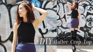 getlinkyoutube.com-DIY Halter Crop Top (GIVEAWAY)