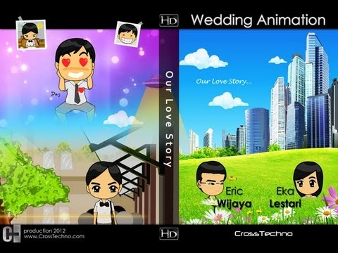 video animasi kartun pernikahan / wedding
