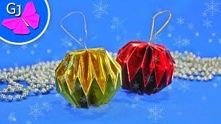 getlinkyoutube.com-Шар на ёлку своими руками ~ Новогодние украшения из бумаги
