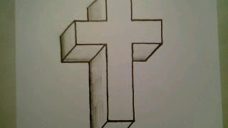 getlinkyoutube.com-How To Draw A 3D Cross Crucifix Easy Optical Illusion Step By Step